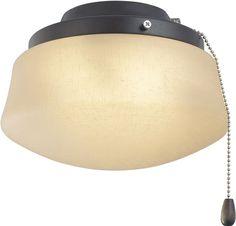 Fanimation LKLP112AOB Low Profile Light Kit: Flared Linen Glass (E11 Minican Bulbs)