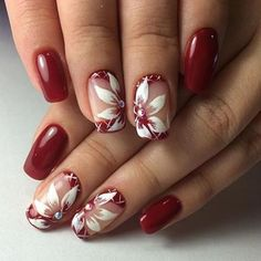 Beautiful nail art designs that are just too cute to resist. It's time to try out something new with your nail art. Cute Red Nails, Fancy Nails, Trendy Nails, Hot Nails, Hair And Nails, Dark Nails, Fingernail Designs, Red Nail Designs, Beautiful Nail Designs