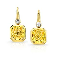 Yellow on Yellow Earrings-2 - Leverback earrings with Fancy Yellow radiant shaped diamonds accented with white round brilliant diamonds in 18kt yellow gold.