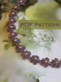 Banda de encaje encaje pelo / pulsera pdf patrón (Flora)