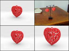 Broken Heart Earring by fluiddesigner 3d Printed Heart, Heart Earrings, Artwork Prints, Tool Design, Personalized Jewelry, 3d Printer, Create Your Own, Objects, Jewellery