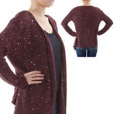 Silk Culture Sequin Knitted Wrap Around Burgundy Sexy Cardigan Sweater S NWT$198