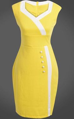 Yellow V Neck Sleeveless Buttons Bodycon Dress Yellow V-neck sleeveless buttons, body-conscious dress Elegant Dresses, Cute Dresses, Vintage Dresses, Casual Dresses, Short Dresses, Office Dresses For Women, Dresses For Work, Clothes For Women, Dress Outfits