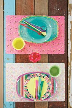 colourful table settings and pretty melamine