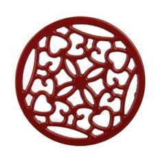 10861 - CAST IRON TRIVET round  20cm Red