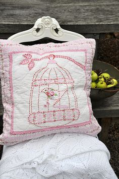 What an absolutely beautiful, whimsically sweet stitchery covered shabby chic throw pillow.