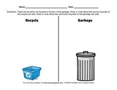 FREE Earth Day Worksheets: Recycling Versus Garbage - Free printable Earth Day and Ecology activity pages and worksheets for kids from PrimaryGames. www.primarygames.com