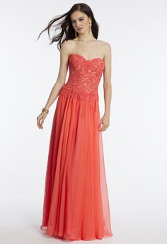 Camille La Vie Strapless Lace Shirred Prom Dress