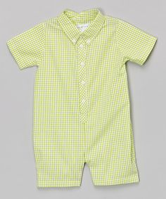 Another great find on #zulily! Lime Gingham Button-Up Romper - Infant #zulilyfinds