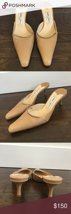 Authentic Jimmy Choo pointy toe beige kitten heels Authentic Jimmy Choo beige pointy toe kitten heel in great condition! Has classy strap detail on the toe and the leather is in great shape! Heel is about an inch which makes these so much more easy to make it through the day! Says 39 but fits more like a 7 1/2 (euro 38) FEEL FREE TO MAKE AN OFFER OR BUNDLE I LUVVV EM SO MUCHHHHH💖💖💖 Jimmy Choo Shoes Heels