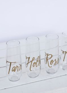 Personalized Stemless Champagne Flutes Wine Flutes by RachelCarl