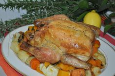 http://www.inspiringhabits.com.au Rosemary and Lemon Roast Chicken and Vegetables. This is the ultimate roast chicken dinner – succulent, tender meat and wonderfully crisp, juicy skin, paired with golden vegetables. The refreshing flavour combination of rosemary and lemon brightens this classic, resulting in a wholesome and impressive meal.