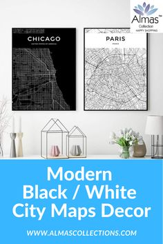 New Modern Black / White Worldwide City Maps Posters Mum Birthday Gift, City Map Poster, Black And White City, Map Wall Decor, Islamic Gifts, Chicago Shopping, Map Design, City Maps, Ceramic Decor