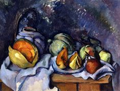 Paul Cezanne Still Life with Fruit and a Pot of Ginger Canvas Art Print – canvasartdealer Cezanne Art, Paul Cezanne Paintings, Oil Paintings, Painting Art, Paul Cézanne, Fruit Bowl Drawing, Cezanne Still Life, Still Life Artists, Still Life Fruit
