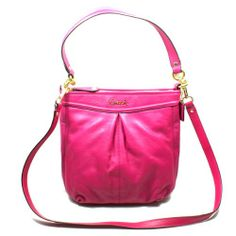 Coach Ashley Magenta Leather Hippie Cross Body Bag/ Shoulder Bag (Pink) #20114
