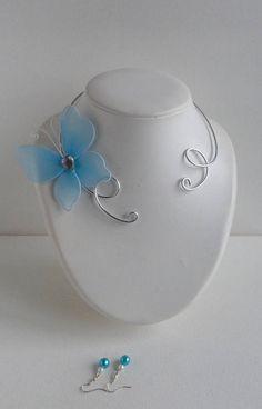 collier papillon bleu turquoise parure ras de cou pour femme