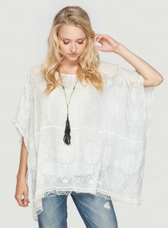 Johnny Was 4 Love & Liberty White Silk Lakyn Top #boho #chic #tunic #embroidered