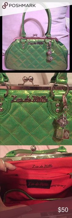 Lux De Ville green sparkle purse Lux de ville pinup purse with kiss lock. Very clean interior and exterior. Barely used. ModCloth Bags Shoulder Bags
