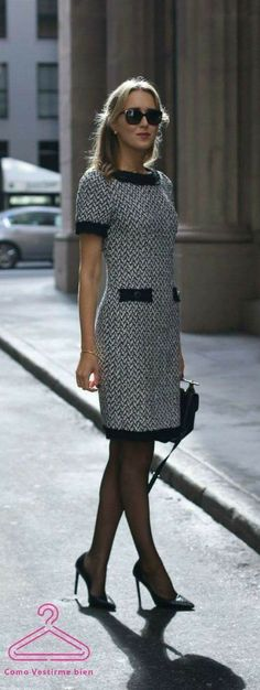 Black and white herringbone tweed sheath dress wit. Black and white herringbone tweed sheath dress with black accents around sleeves and collar perfect for business formal client meetings in fall and winter! Mode Outfits, Office Outfits, Skirt Outfits, Trendy Outfits, Office Fashion, Work Fashion, Fashion Black, Dress Fashion, Street Fashion