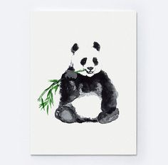 Giant Panda Watercolor Art Print. Bear Woman GIft Idea Large Poster. Asian Animals Home Decor. Panda Painting Nursery Kids Wall Decor. Black and