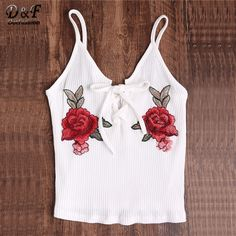 e24e7239ce2 Dotfashion Rose Embroidered Patch Lace Up Ribbed Cami Top Summer Sleeveless  Slim Camisole 2017 Woman Beach
