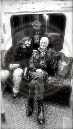 Jimmy Page and Brian Wheat (Tesla) on the subway. Photo: Ross Halfin
