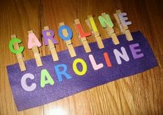Name Activities: Name Game: Clothespins Felt And Foam Letters. Would Make These With Lowercase Letters. Preschool Names, Literacy Activities, Infant Activities, Activities For Kids, Name Games For Kids, Math Games, Easy Preschool Crafts, Cognitive Activities, Free Preschool