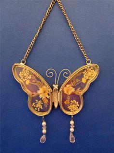 Metal & Glass Butterfly Suncatcher Window Hanging With Dried Flowers Inside
