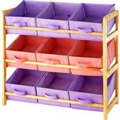 3-Tier Wooden Toy Basket Storage Unit - Pastel. Wickford