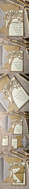 Laser Cut Tree Design Wedding Invitation || @4lovepolkadots
