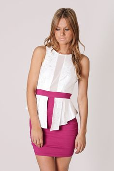 madeline high neck dress- white/magenta