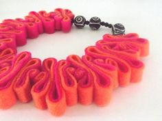 Felted Necklace, Boho Felt Bib, Recycled, Hot Pink ,Neon Orange, Black Bead Necklace, Collar, Eco Felt Jewelry, Felted For Her