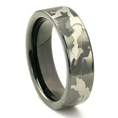 Black Tungsten 7mm Military Camouflage Wedding Ring