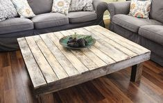 Pallet Wood Farmhouse Style Coffee Table - this table features a clear coat of water-based polyurethane on top, and an American walnut stain on the frame