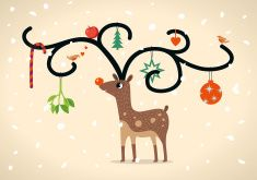 Rudolf Christmas Card vector art illustration