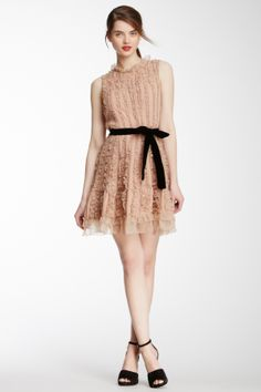 RED Valentino Ruffled Velvet Belt Dress