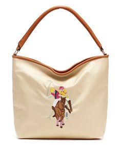 US Polo Assn. Womens Handbags Chester Nylon Top Handle Hobo Bag With Detachable Crossbody Strap Desert Sand Tan Beige Brown