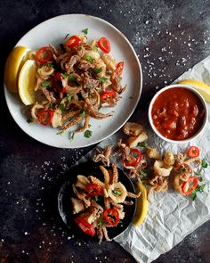 Fried Calamari with Pickled Red Fresno Chili Peppers - The Original Dish Quick Appetizers, Appetizer Recipes, Fresno Chili, Fried Calamari, Molecular Gastronomy, Italian Recipes, Italian Foods, Seafood Recipes, Fish Recipes