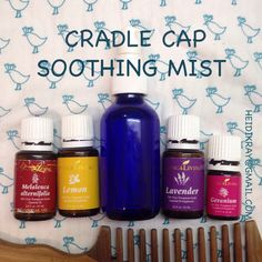 I made a great soothing spray with Young Living essential oils that got rid of of my toddler's cradle cap! Most references said to use coconut oil to massage the essential oils in, but he just won't sit still! So I used 1/3 parts vegetable glycerine and 2/3 parts water and then about 3 drops of each essential oil and shook it up. Then I just sprayed it on generously and combed it throughout his hair. Worked really well, not to mention he smelled great! This also works as a detangler!