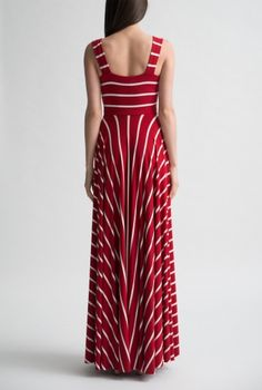 Red Stripe Cross over Gown