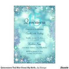 Quinceanera Teal Blue Ocean Sky Birthday Party 5x7 Paper Invitation Card