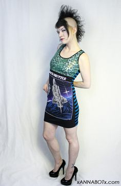 Space Shuttle Mini Dress - Upcycled T Shirt - Punk Geek Space Galaxy NASA Rock - Racerback Style - Leopard Striped Astronaut. $42.00, via Etsy.