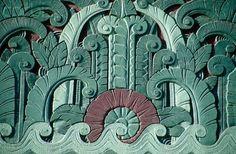 Art Deco relief on a building in Miami, FL, c.1930s