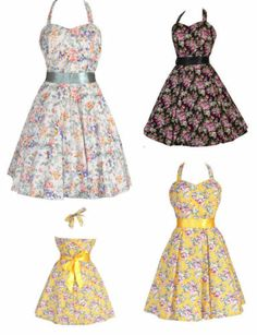 New Ladies Vintage 1950'sstyl Ditsy Floral Pin up Rockabilly Party Swing Dress