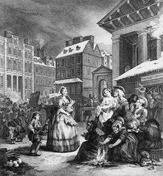 Hogarth's depiction of Moll and Tom King's coffee-shack from The Four Times of Day (1736). Public Domain Review.