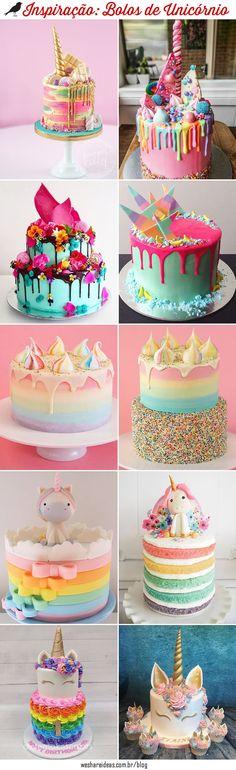 inspiração bolo de unicórnio, unicorn cake