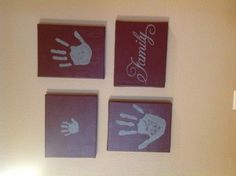 Diy handprints on canvas. Canvases, paint, family stencil. Great Father's,Mother's, or grandparents day gift