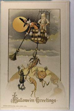 Anthropomorphic corn/carrot/pumpkin/peanut characters on a hot air balloon--Halloween Halloween Pictures, Halloween Cards, Holidays Halloween, Vintage Halloween, Holiday Postcards, Vintage Postcards, Hot Air Balloon, Hallows Eve, Vintage World Maps