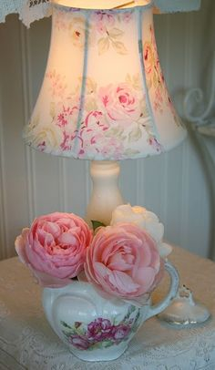 Shabby Chic...floral lamp shade & teapot with flowers.