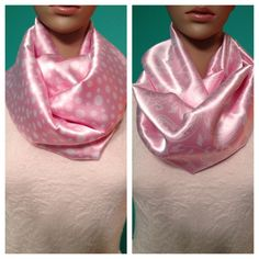 Items similar to Satin polka dot, paisley, light pink infinity scarves, light pink with varying white polka dots, light pink with white paisley. on Etsy Paisley Scarves, Infinity, Polka Dots, Satin, Trending Outfits, Handmade Gifts, Pink, Vintage, Etsy